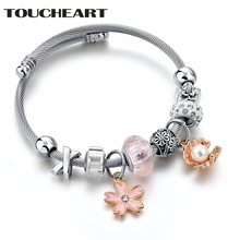 Женский браслет в богемном стиле toucheart с розовыми цветами