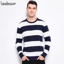 가을 겨울 패션 브랜드 의류 남성 니트 스웨터 두꺼운 줄무늬 슬림 맞는 풀오버 남자 100% 코튼 o 넥 스웨터 남성용