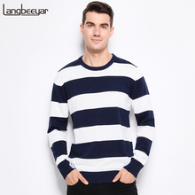 Autumn Winter Fashion Brand Clothing Men Knitted Sweater Thick Stripes Slim Fit Pullover Men 100% Cotton O Neck Sweaters For Men