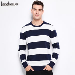 Image 1 - Autumn Winter Fashion Brand Clothing Men Knitted Sweater Thick Stripes Slim Fit Pullover Men 100% Cotton O Neck Sweaters For Men