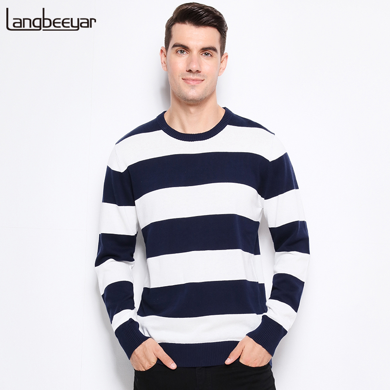 Autumn Winter Fashion Brand Clothing Men Knitted Sweater Thick Stripes Slim Fit Pullover Men 100% Cotton O-Neck Sweaters For Men image
