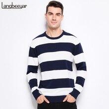 Jesień zima moda marka odzież dziergany sweter męski grube paski Slim dopasowany sweter mężczyźni 100% bawełna O Neck swetry dla mężczyzn