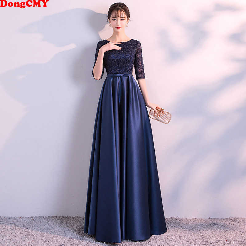 DongCMY New 2019 Long Formal Evening Dresses Elegant Lace Satin Navy Blue Vestidos Women Party Gown