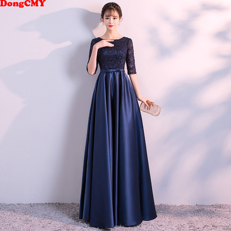 DongCMY New 2021 Long Formal Evening Dresses Elegant Lace Satin Navy Blue Vestidos Women Party Gown