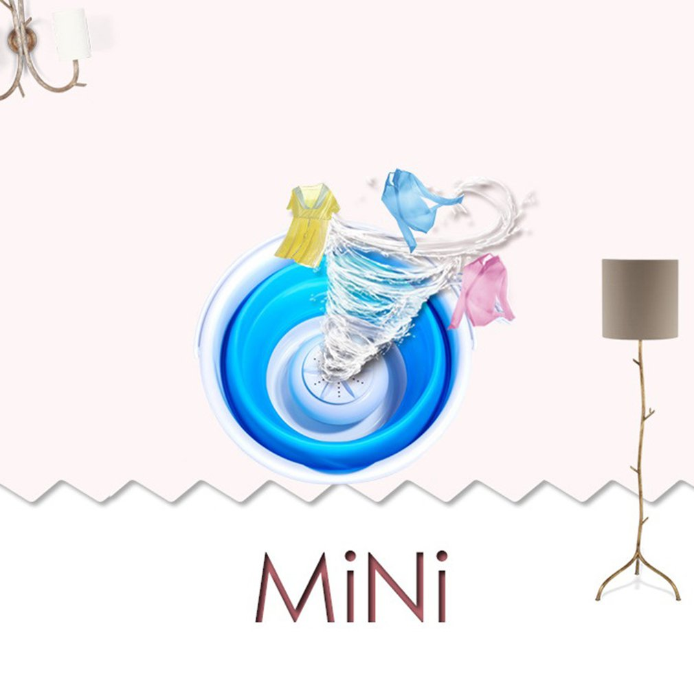 Mini Portable Ultrasonic Turbine Washing Machine Foldable Bucket Type USB Laundry Clothes Washer Cleaner for Home Travel