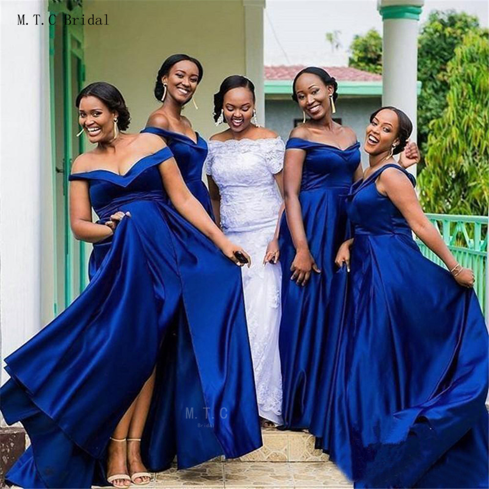 African   Bridesmaid     Dresses   2019 High Quality Off The Shoulder A Line Satin Royal Blue Maid Of Honor   Dress   Cheap Women Party Gown