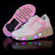 2016 Child Jazzy Heelys, Junior Girls/Boys LED Light Heely shoes, Children Roller Skate kids Sneakers With Single Wheels 27-40