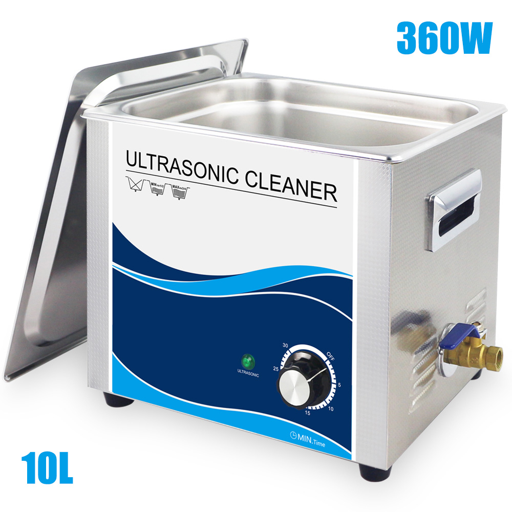 все цены на 10L Stainless Steel Bath Ultrasonic Cleaner 360W Mechanical Timer Industrial Cleaning Equipment 220V Lab Dental Sonic Washer онлайн