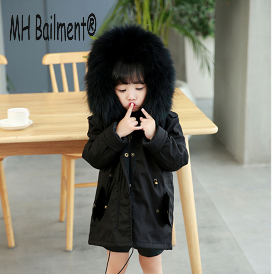 Children Army Coat Real Rabbit Fur Clothing WinterReversible Long Parkas Kids Warm Thick Outerwear Black Jacket Hooded Coat C#7 girl duck down jacket winter children coat hooded parkas thick warm windproof clothes kids clothing long model outerwear