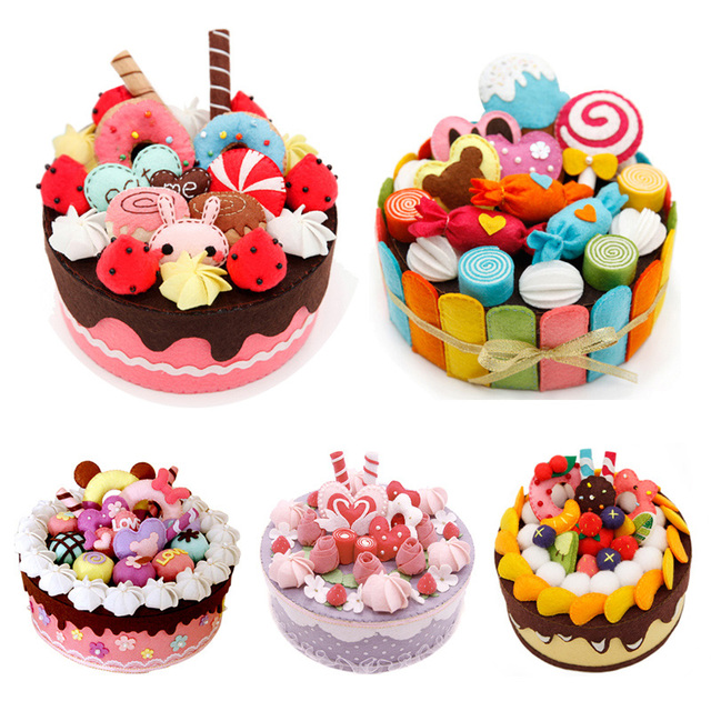8 Styles DIY Felt Cloth Birthday Cake Box Handmade Cute Storage Case For Children Special Gift Package