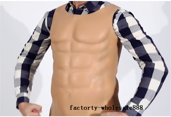 Strong Man Hunk Chest Muscle Man Silicone Fake Chest Muscle Pecloralis Lifelike Men Bodysuit Sexy Shaper Cosplay Dress