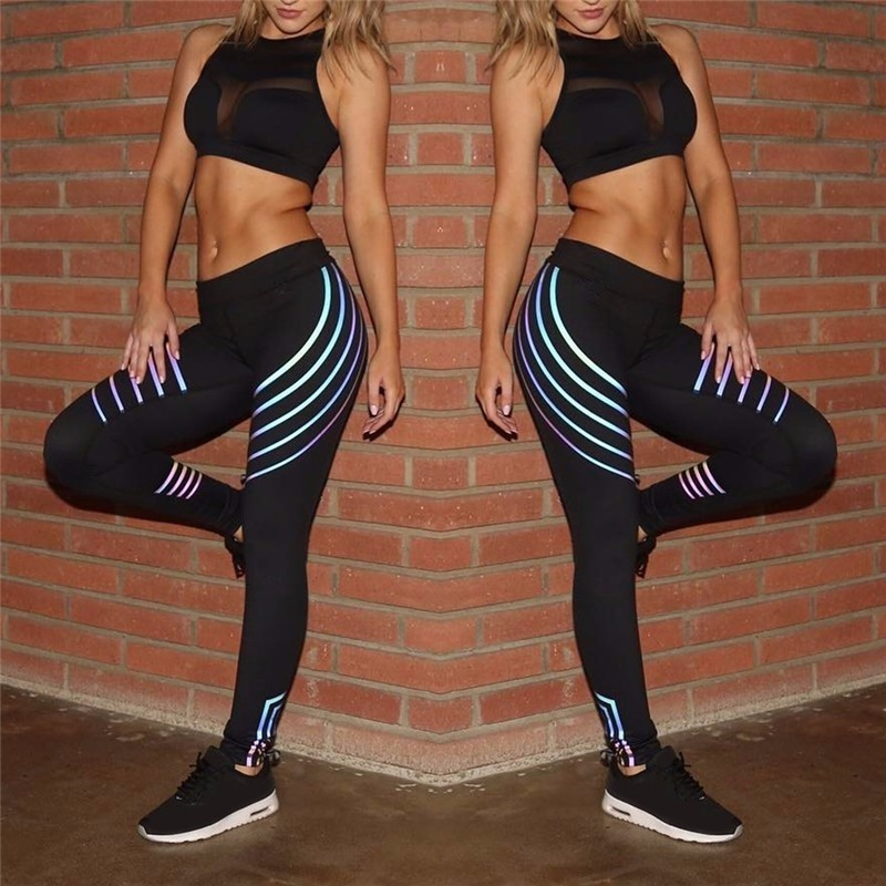 New Women Yoga Pants Fitness Sports Leggings Running Gym Stretch High Waist Breathable Glowing Trousers 3