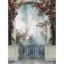 Retro Arco Castelo Varanda pano de Fundo a Fotografia Impressa Pilares de Pedra Verde Videiras Rosas Vermelhas Casamento Noite de Nevoeiro Fundo Cénico
