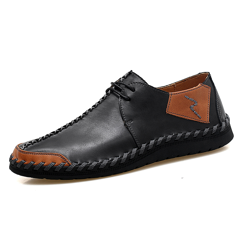 New Men Casual Shoes Moccasins Casual Natural Leather Loafers Mens High Quality Split Leather Shoes Lace Up Man Flats Shoes in Men 39 s Casual Shoes from Shoes