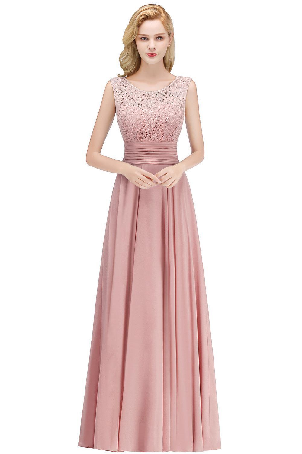 Elegant Lace Long Bridesmaid Dresses 2019 Sleeveless Chiffon Ruched Wedding Guest Maid Of Honor Party Dresses