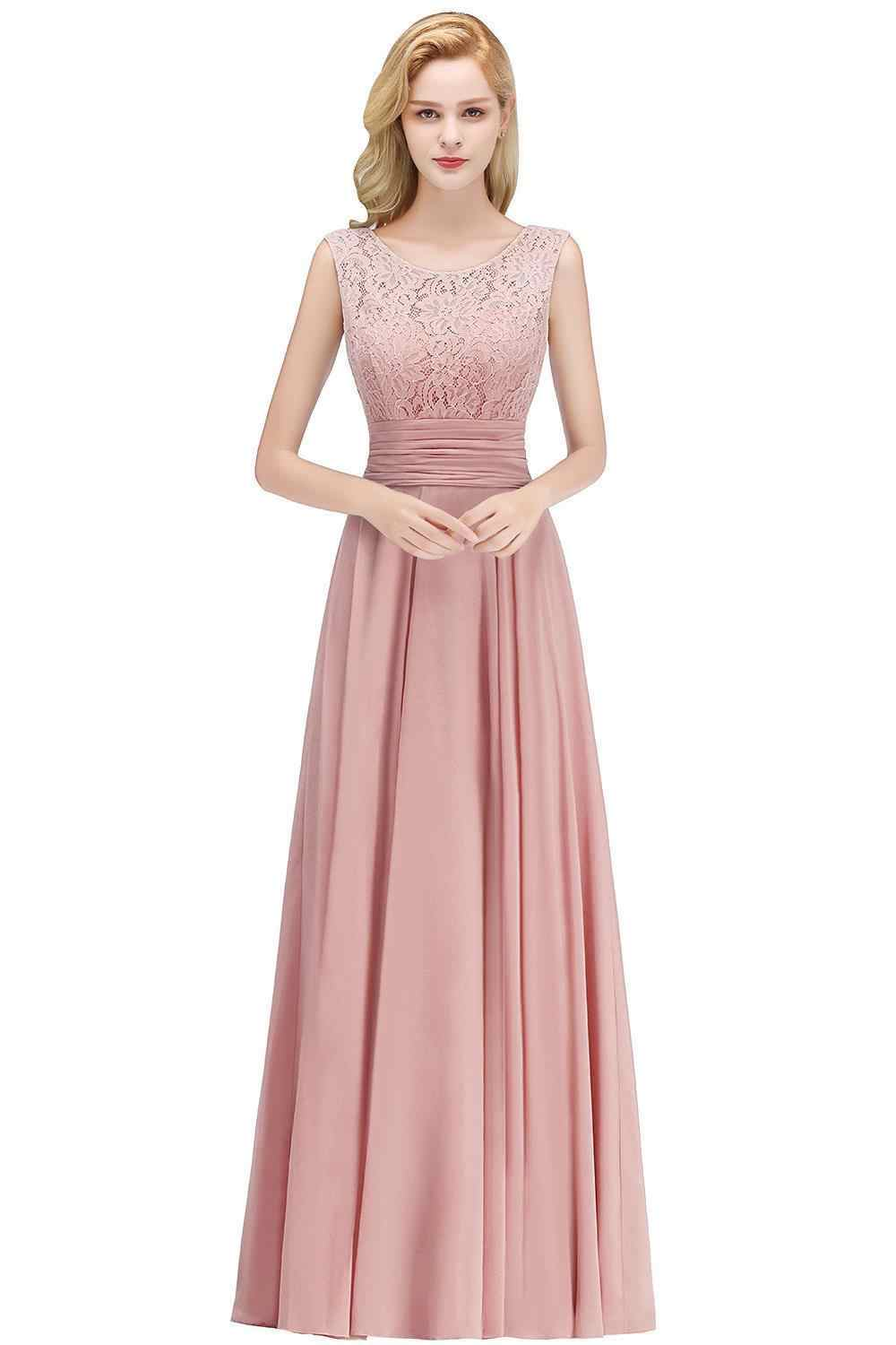 4043b42c774b Detail Feedback Questions about Elegant Lace Long Bridesmaid Dresses 2019  Sleeveless Chiffon Ruched Wedding Guest Maid Of Honor Party Dresses on ...