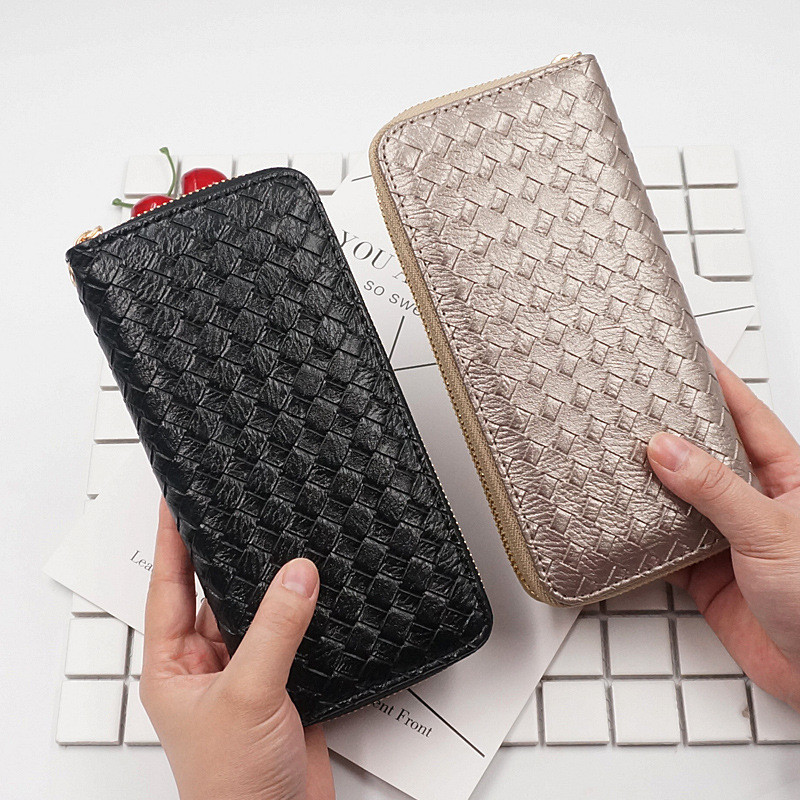 Fashion Quality Leather Long Women Wallets Weave Pattern Designer Clutch Purse Lady Party Wallet Female Zipper Card Holder Bag nawo real genuine leather women wallets brand designer high quality 2017 coin card holder zipper long lady wallet purse clutch