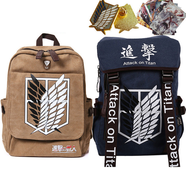 2015 Anime Attack on Titan cosplay Fashion Preppy Style BackPack KID School Bag Free Shipping Wholesale