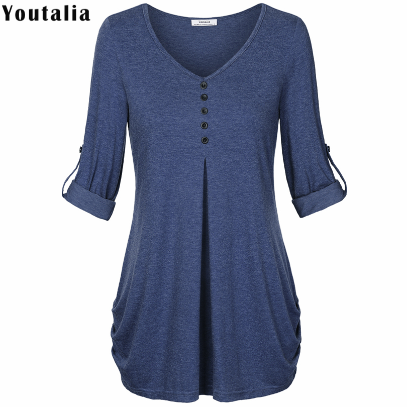 Hot Sale T Shirt Women 2017 Summer Fashion Female T Shirt Button Female Long Sleeve Tshirt
