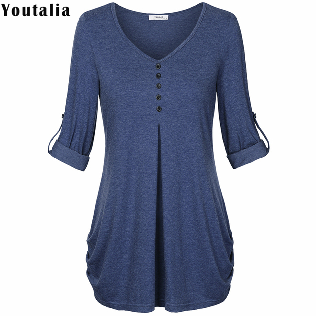 Rolled Up Long Sleeve Snug T Shirt Women 2018 Summer V Neck Tee Shirt Femme Buttons Elegant Tunic Long Female T-shirt Tops
