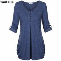 Hot Sale T Shirt Women 2017 Summer Fashion Female T Shirt Button Female Long Sleeve Tshirt
