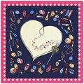 100% Lenço De Seda Mulheres Cachecol Padrão de Coração Amor Envoltório De Seda Foulard Bandana Quadrado Lenço De Seda Fêmea Quente Lady Presente