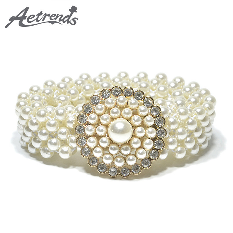[AETRENDS] Fashion White Pearl Belts For Women Elastic Cummerbunds Thin Girdle Decoration Diamonds Slim Cinch Belt D-0052