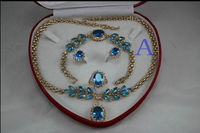 shipping Bridal Fashion Jewellery Women 's Necklace Bracelet Earring Ring Set more coAA1
