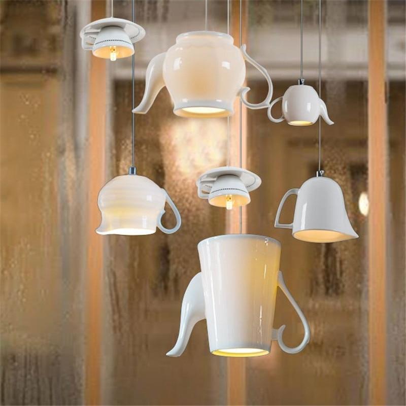 Nordic Ceramic Led Pendant Lights modern Tea Cup Teapot Hanging Lamp  Dining Room Kitchen Home Decor Luminaire Lighting Fixtures