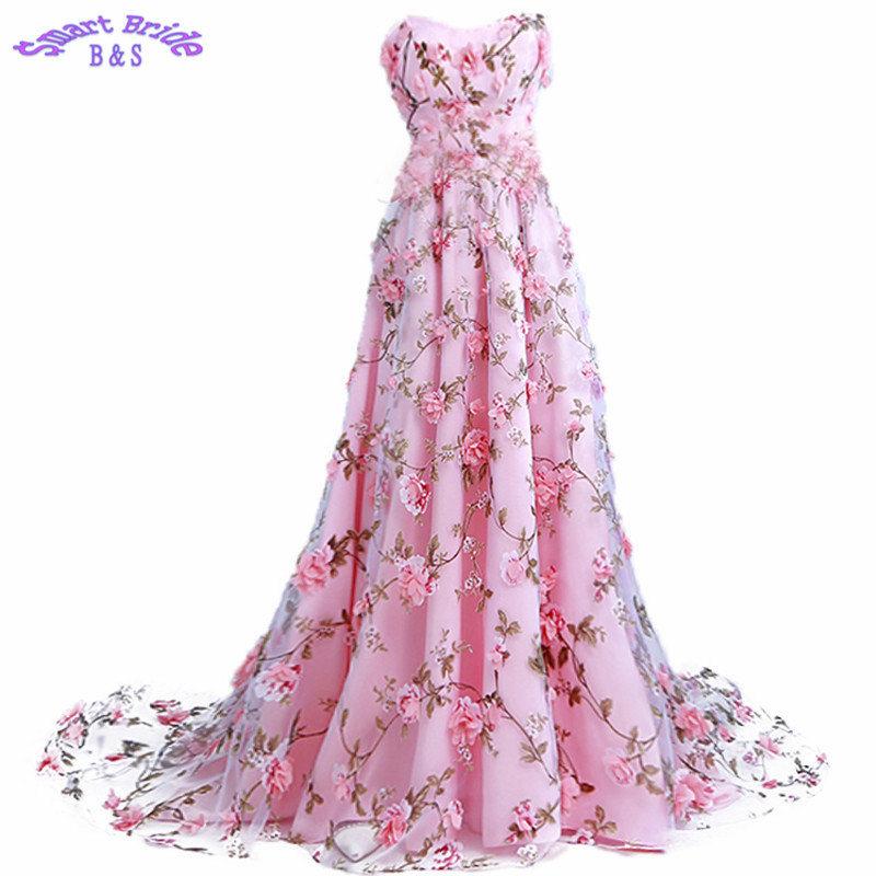 Long   Evening     Dresses   A-line Pink Strapless Flowers Lace Up Vintage Women Birthday Party 2019 In Stock LY96