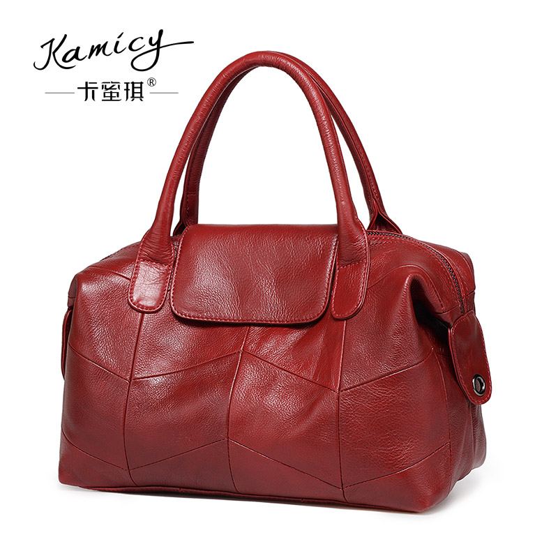 c2ee15107c72 Kamicy brand women handbags leather tote bag stitching leisure shoulder bag  lady handbag messenger bag in the summer of 2018-in Shoulder Bags from  Luggage ...