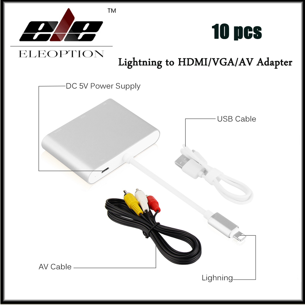 10 pcs for lightning to hdmi hdtv vga av digital cable. Black Bedroom Furniture Sets. Home Design Ideas