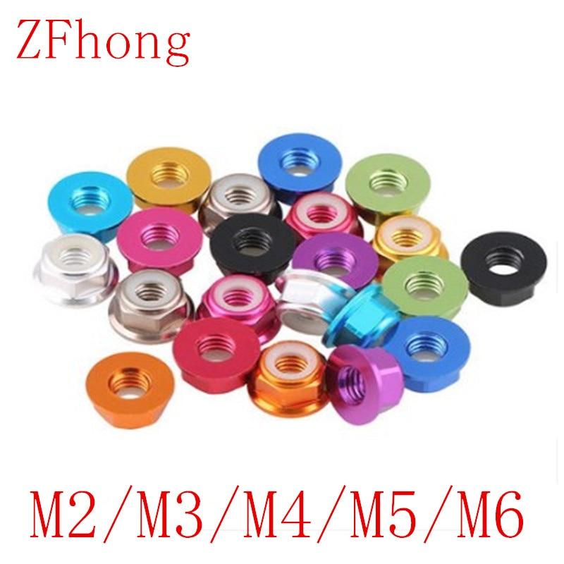 10 StÜcke M2 M3 M4 M5 M6 11 Farbe Aluminiumlegierung Flansch Nyloneinsatzkontermutter Selbstsichernde Mutter