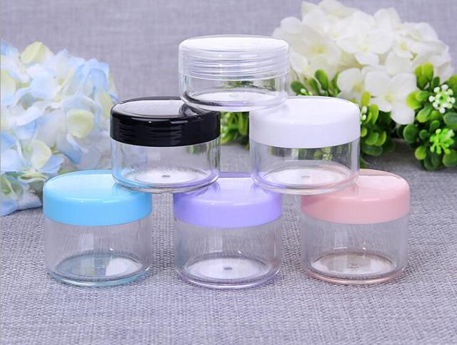 10pcs/lot 10g/15g/20g Empty Plastic Makeup Nail Art Bead Storage Container Portable Cosmetic Cream Jar Pot Box Round Bottle
