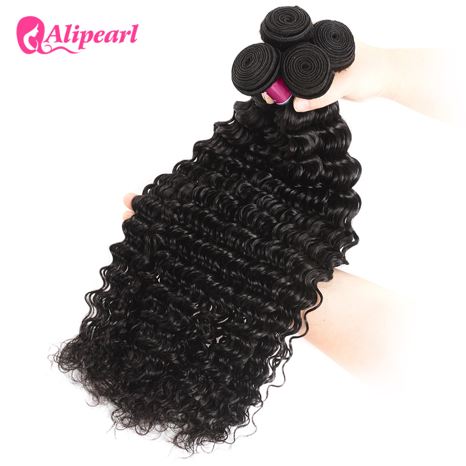 Hair Weaves Ali Pearl Hair Long Length 28 30 32 34 36 38 40 Inches Brazilian Deep Wave Bundles 1 Piece Only Human Hair Remy Natural Color
