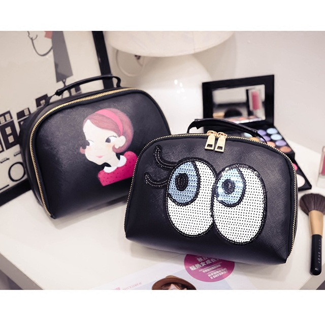 eaa21e8d3cd1 Women elegant evening party famous brand beauty PU cosmetic case luxury  makeup organizer bag toiletry clutch bag-in Cosmetic Bags & Cases from  Luggage ...