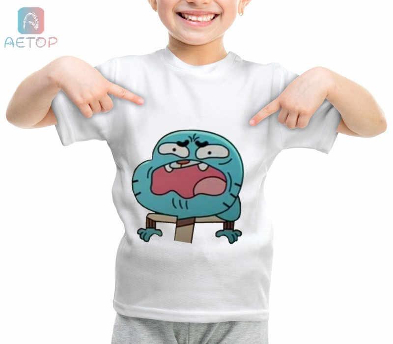 Новый удивительный мир жевательной резинки b044 база забавная одежда для детей, футболки в стиле «Летняя симпатичная одежда для маленьких мальчиков топы для девочек Футболка