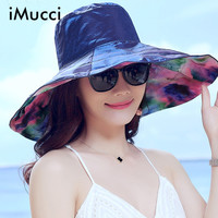 IMucci New Fashion Bohemian Style High Quality Cloth Summer Sun Hat For Women Hat Large Visors