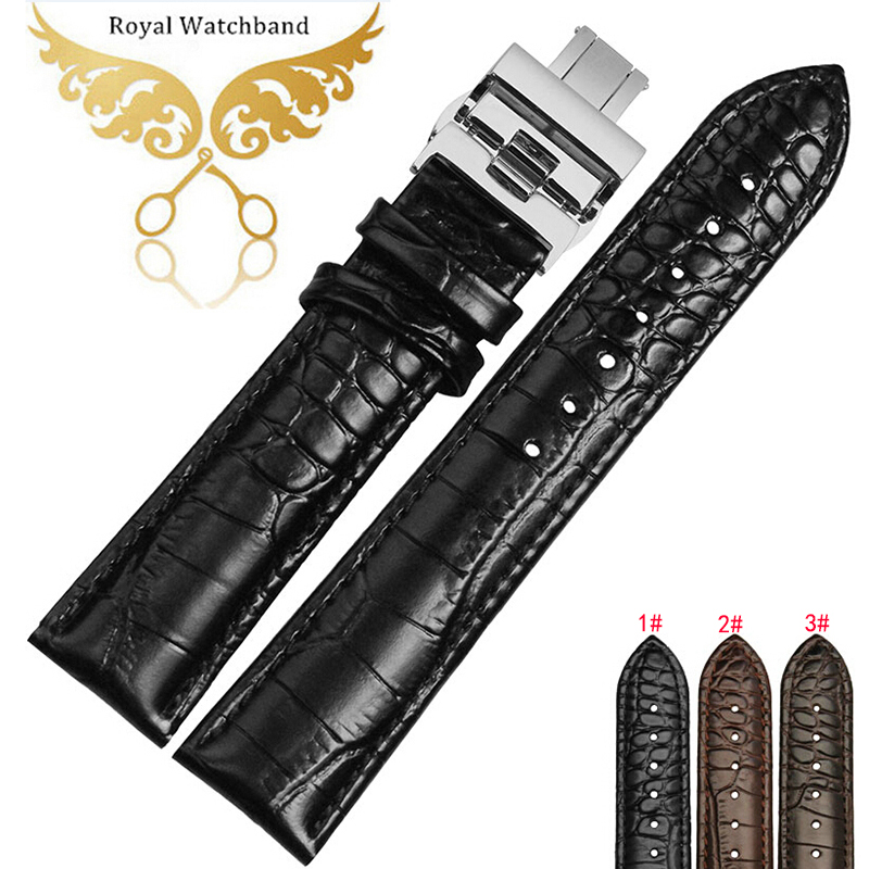 Watch band 18mm 20mm 22mm Premium Black Brown Genuine Leather Watch Strap Band Bracelets new mens genuine leather watch strap bands bracelets black alligator leather 18mm 19mm 20mm 21mm 22mm 24mm without buckle
