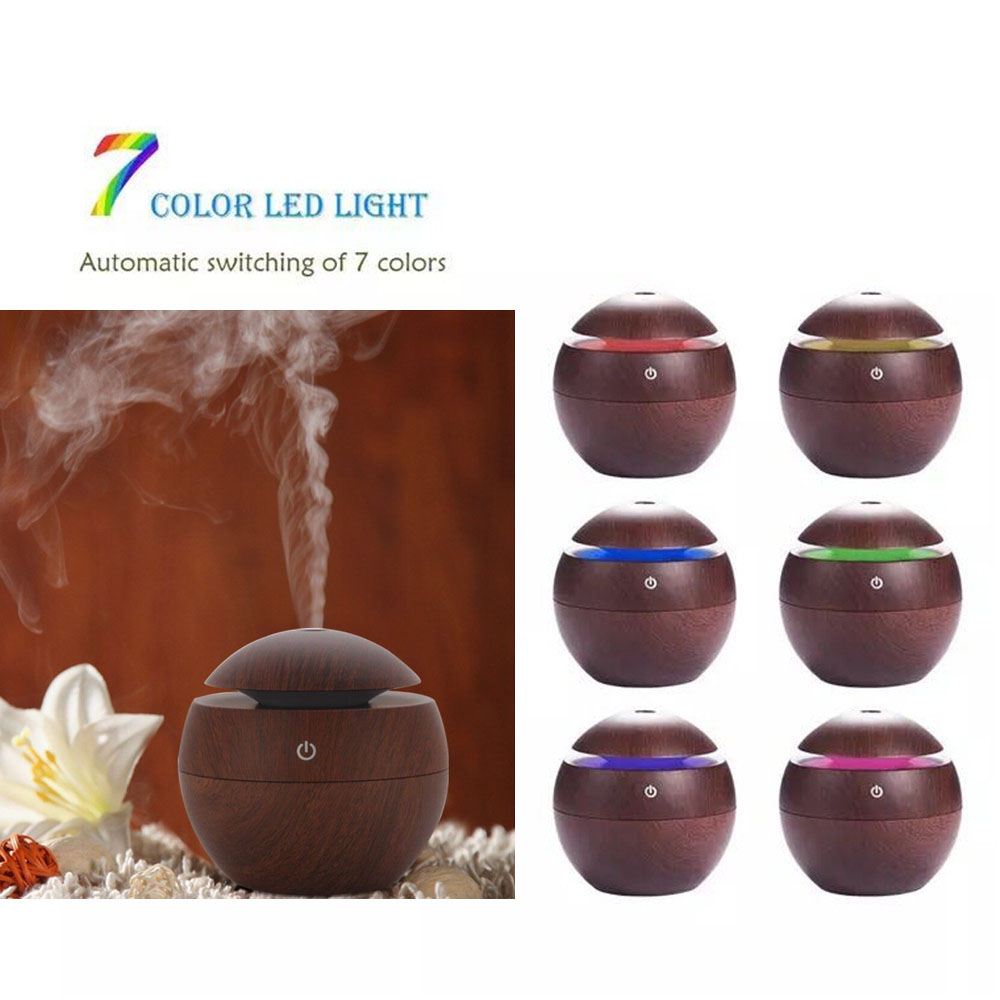 Wood and stripe Aromatherapy Diffuser essential oil diffuser Aroma fragrance diffuser fogger with 7 colors LED light home