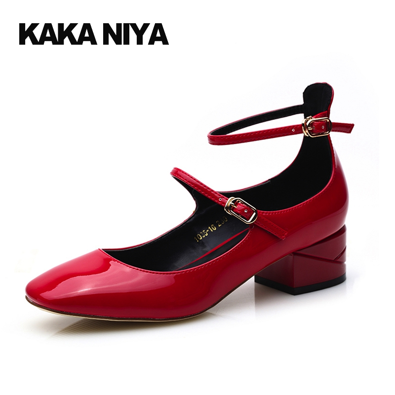 4cm 2 Inch New Mary Janes Women Shoes 2017 Japanese Chunky High Heels Square Toe Low Pumps Ankle Strap Patent Leather Red