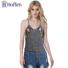Hoffen 2017 Fashion V-neck Summer Sexy Tops Flower Embroidery Knitted Camisole Tight Sleeveless Spaghetti Strap Casual Cami Top