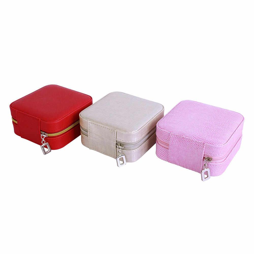 Colare مجوهرات صندوق التخزين المنظم السفر زيبر التجميل و مرآة جلد النساء الديكور الزفاف هدية صندوق OB002