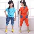 1 шт. розничная новый хлопок случайные детей девочек летом лоскутное комплект одежды кружева топ с брюками 2 шт. костюмы