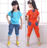 1 Pieces Retail New Cotton Casual Children Girls Summer Patchwork Clothing Set Lace Top With Pants