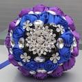 You Custom Black Royal Blue Purple Rose Mixed Flowers Bridal Wedding Bouquet Brooch Crystal Pearls Silk Ribbon Bouquets W236
