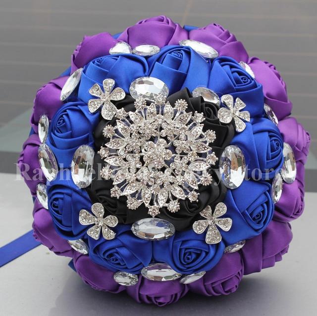 You Custom Black Royal Blue Purple Rose Mixed Flowers Bridal Wedding Bouquet Brooch Crystal Pearls Silk