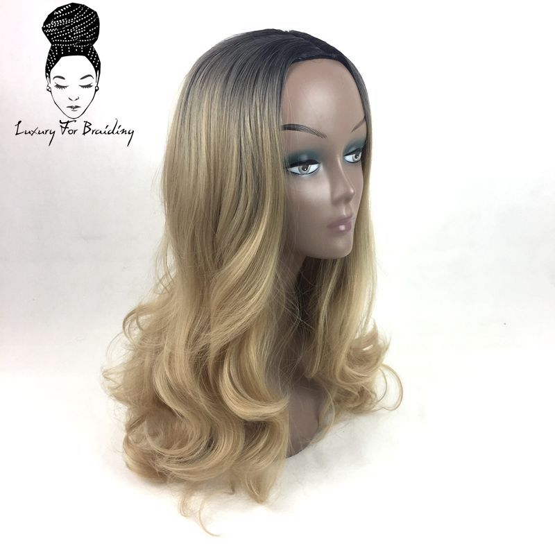 long curly ombre blonde synthetic wigs02