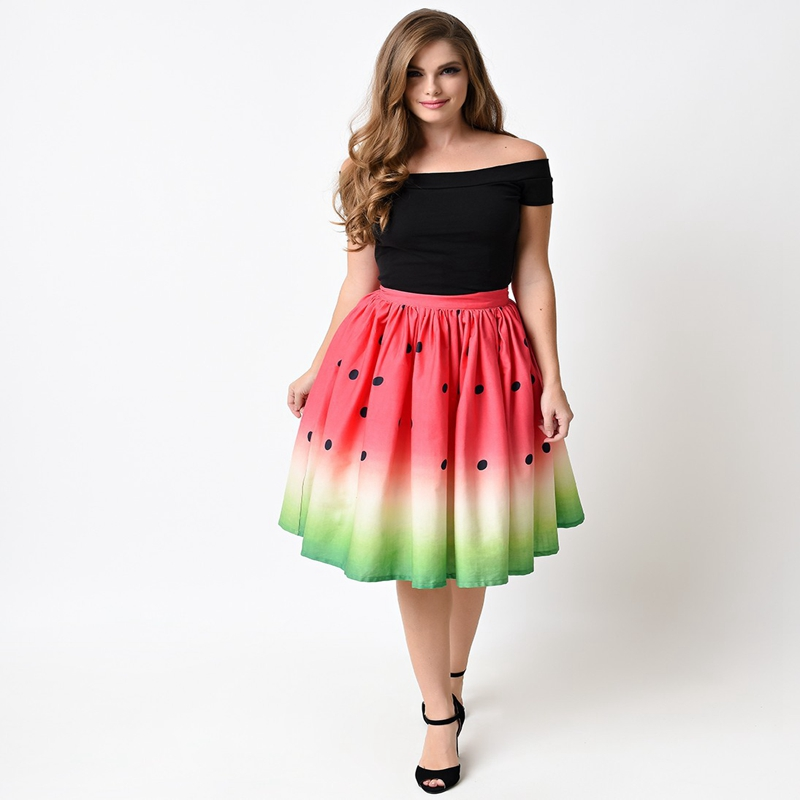 7 Styles Funny Festival USA Flag Watermelon Skirt Womens Skirts Fashion Sexy High Waist 3D Print Pleated Long Loose Bubble Skirt