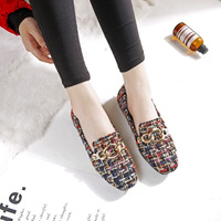 Vintage Square Head Ladies Shoes Flats 2018 Autumn Winter Boat Shoes with Fur Women Plaid Flat Shoes Casual Warm Footwear